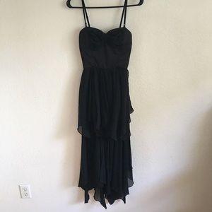 Sans Souci Black Bow Ruffle Hi-Low Dress